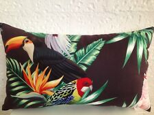 Tommy Bahama Outdoor Indoor Tropical Parrot Palm Leaf Lumbar Retro Cushion Cover