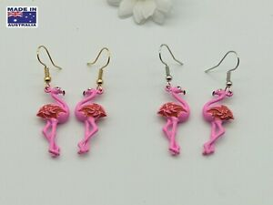 3D Vintage Style Flamingo Tropical Novelty Drop Earrings Gift Dress Accessory