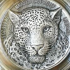 """IVORY COAST 2018 Big Five Mauquoy """"LEOPARD"""" 5 oz. SILVER COIN"""