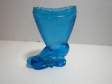 Antique Smith Blue Glass Boot High  Shoe Tooth Pick Holder Vase