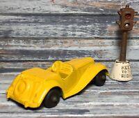 "VTG '54 Diecast TOOTSIETOY MG TF Roadster 3¼"" Yellow Body Closed Fender (BRW)"