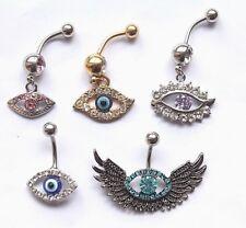 Bar Ring Greek Egyptian Protection Fancy Evil Eye Bead Gem Dangle Belly Navel