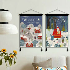 Xmas Wall Hanging Tapestry Canvas Pictures Wall Art for Living Room Decor Retro