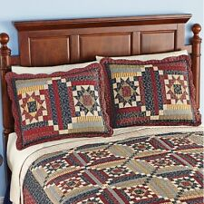 Set Standard Quilted Pillow Shams 2 Fall Country Cottage Paisley Pillow Sham
