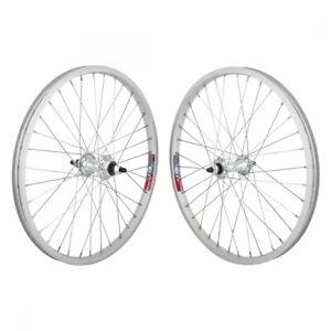 Wheel Master 20in Silver Alloy BMX Wheelset Weinmann 519 Rims 3/8 Bolt on Axles