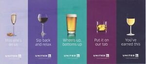 Five (5) United Airlines Beverage Drink Vouchers Coupons (expy 1/31/2022)