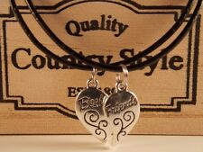 BEST FRIENDS BFF Pair silver tone charms on pendant cord necklaces 46 cm