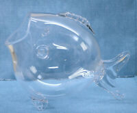 Blown Glass Fish Shaped Vase  Fish Bowl  Betta / Goldfish Bowl Centerpiece 12.5""