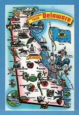 Greetings from Delaware, Dover, Wilmington, Lewes, Milford -- State Map Postcard