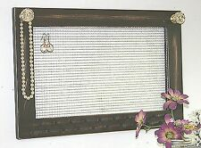 Large wall mount jewelry organizer time worn rustic brown necklace Crystal Knobs