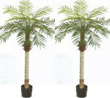 2 Artificial Phoenix Palm 5' Tree Bush Plant Pot Pool Patio Deck Porch Date Sago
