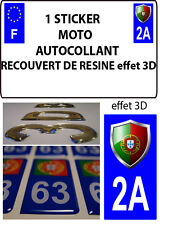 1 sticker plaque immatriculation MOTO TUNING 3D RESINE  BLASON PORTUGAL DEPA 2A