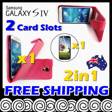 Samsung Galaxy S4 i9500 Telstra Hot Pink Card Slot Leather Flip Pouch Case Cover