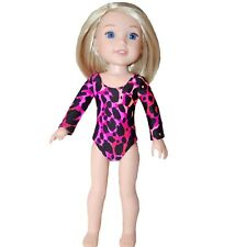 """Leotard for 14"""" Wellie Wishers Doll Clothes by TKCT Pink/coral/black dance"""