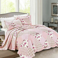 Quilted Patchwork Bedspread King Size Bedding Set Bed Throw With Pillow Cases