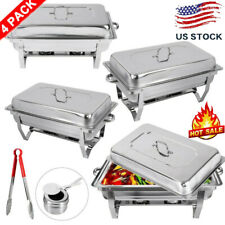4 Pack Catering Stainless Steel Chafer Chafing Dish Sets 9Qt Buffet Pans Warmer