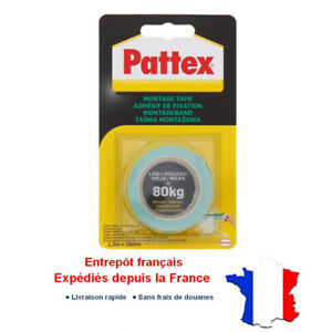 Pattex Ruban Double Face Adhesif Super Puissant 80 kg - 1.5m x 19mm