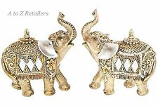 GOLD PEARL 2 Set Elephants Animals Figurines Home Decor Ornaments Gifts 60040