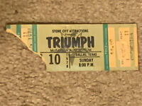 Triumph Sunday 12/10/1978 Concert Ticket Stub McFarlin Auditorium Dallas Texas