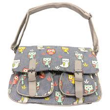 4aaff7a557 Canvas Satchel Ladies Messenger Bag Owl Print Shoulder Girls School Handbag