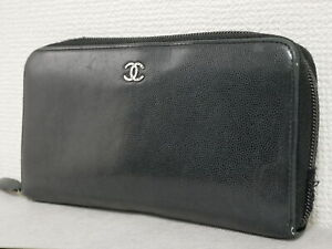 Chanel long wallet purse black leather round fastener Authentic man woman #4473P