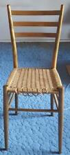 Vintage High Slat Back Side Chair - VGC - GREAT MID CENTURY DESIGN - WOVEN SEAT