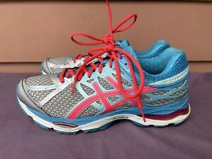 EUC Asics GEL Cumulus 17 Aqua Blue Silver Running Shoes Women US 10 T5D8N D6