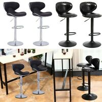 Set of 2 Bar Stools Counter Height Adjustable Leather Swivel Stool Dining Chair