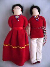 Vintage Handmade Navajo Doll Couple Pair Signed Sadie Nez Native American Indian