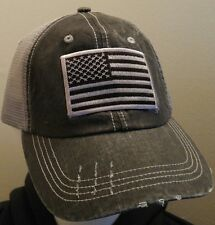 USA Flag Distressed Trucker Cap Low Profile Special Cotton Mesh 6 Panel G&B Flag