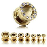 Tunnelset Stahl Plug Tunnel Ohr Piercing Flesh Gold Strass 1,6 2 3 4 5 6 8 10 mm