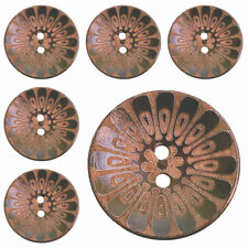 10 Pcs Wooden Vintage Dark Brown Buttons with 2 holes 30mm / 1.18'' ( 48 L )