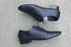 Repetto Black Oxford Leather Lace up Shoes US 6.5 EU 37 made in France