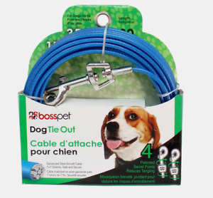 PDQ Boss Pet 30' DOG TIE OUT Blue/Silver Vinyl Coated Cable MEDIUM Dog 35lbs NEW