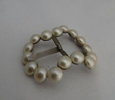 METAL BUCKLE WITH FAUX / SIMULATED PEARLS - FASHION PROJECT / PERIOD PRODUCTION