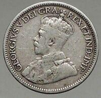 1917 CANADA King GEORGE V Original Genuine Antique Silver 10 Cents Coin i56785