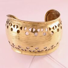 Giant Indian Brass Many Small Circle Triangle Cut Inward Shaped Cuff Bracelet