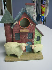 Farmhouse with sheep Bird House Outdoor or Indoor Tabletop Decoration Resin