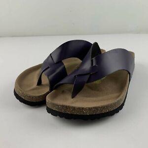 RARE Birkenstock 245 Sandal Women 39 US 8 8.5 Purple Leather Toe Ring Slide Shoe