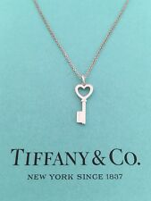 """Tiffany & Co Sterling Silver Small Open Heart Key Pendant Necklace 16"""" RRP $300"""