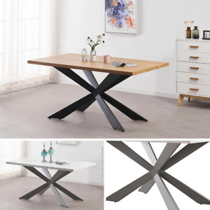 White Modern Dining Table in White or Oak Dining Table 4 or 6 Seater Wood Effect