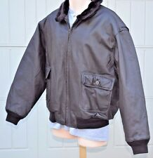 Navy Bomber Jacket Leather Brown Size Large L Heavyweight High Pile Lining MINT