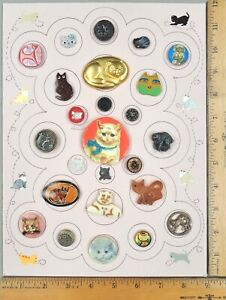 Card of 25 ANTIQUE BUTTONS, Assorted CATS, Various Materials & Ages