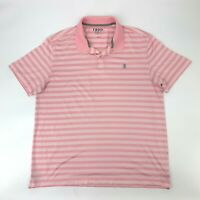 Izod Golf Polo Shirt Men's Size L Short Sleeve Stretch Pink Striped Collared