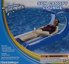 Summer Escapes Blue Sun Canopy Lounge Float w/ cup holder 80x36 NIB