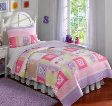 Owls, Pink, Purple, Green Girls Full / Queen Quilt & Shams Set (3 Piece Bedding)
