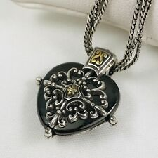 Brighton Heart Black Onyx Layered Pendant Double Chain Necklace Retired
