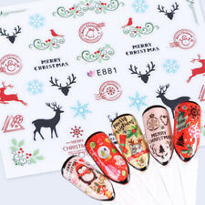 Christmas Nail Art Stickers Decals Black Red Reindeer Snowflakes Lace Holly E801
