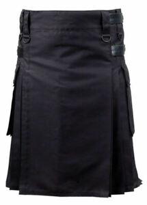 Black Active Men Utility Kilt with Adjustable Leather Straps