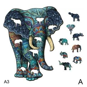 Wooden Jigsaw Puzzles Unique Animal Shape Adult Kid Child Toy Gift Home Deco AU